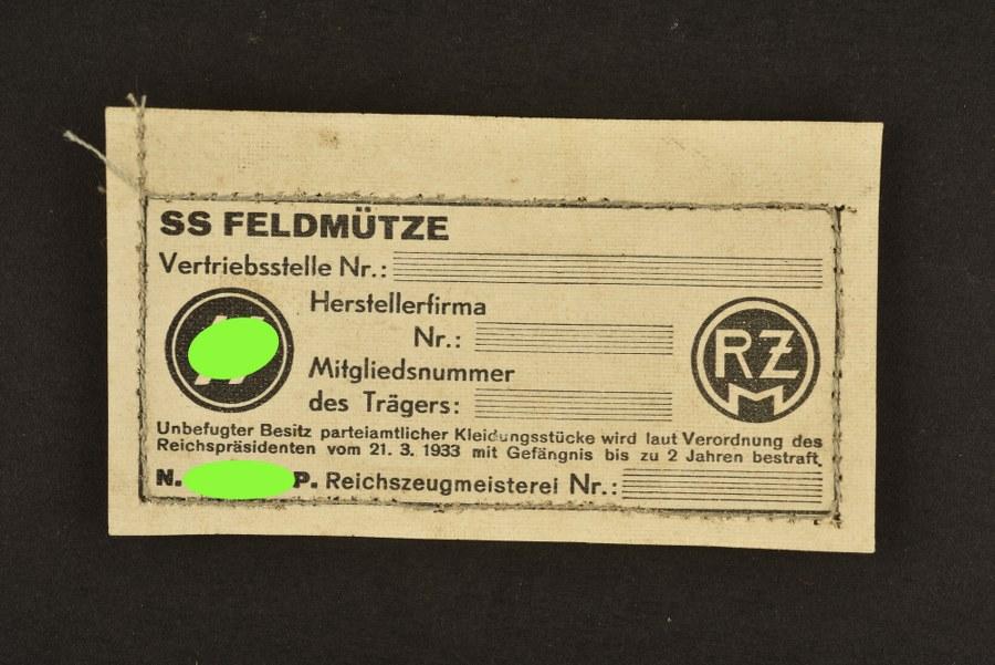 Etiquette RZM SS pour Feldmütze