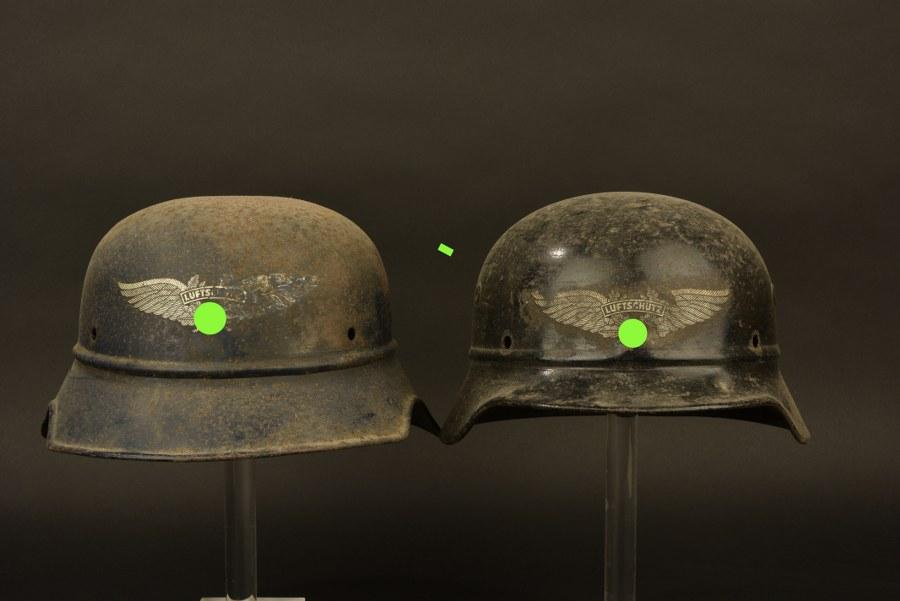 Ensemble de casques de la Luftschutz