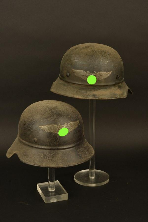 Ensemble de coques de casque de la Luftschutz