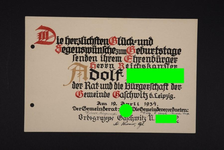 Diplôme de citoyen d'honneur du chancelier allemand