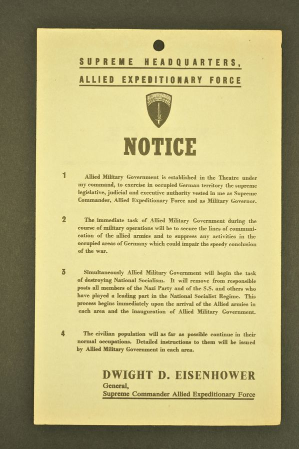Notice n°2 For the Wehrmacht de Dwight Eisenhower émanant du Supreme Headquarters Allied Expeditionnary Force