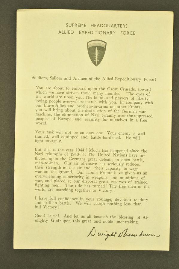 Message de Dwight Eisenhower avant les opérations du D DAY