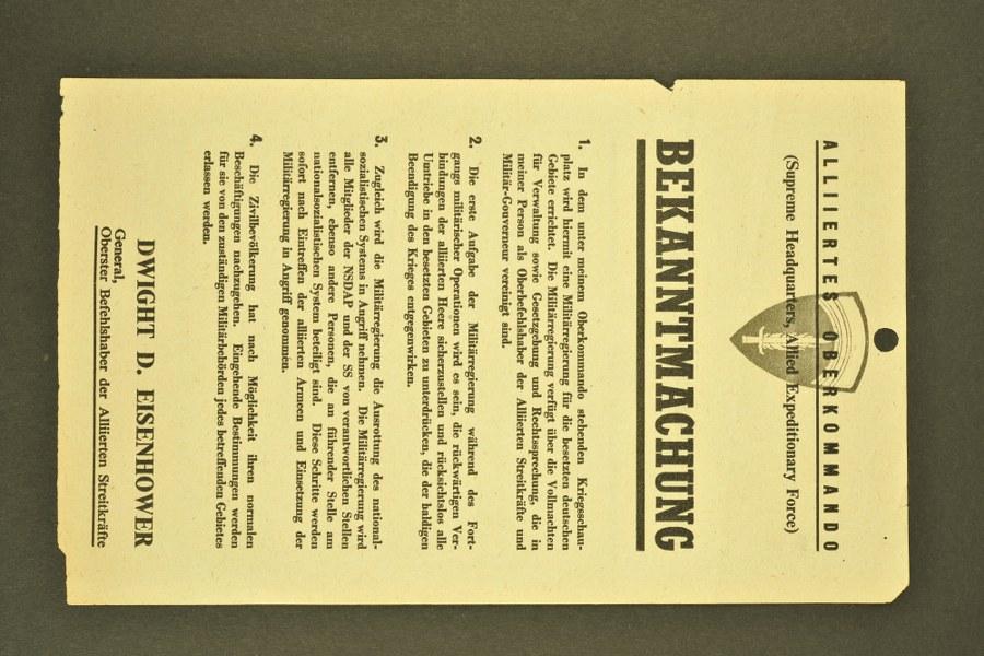Notice n°2 pour la Wehrmacht de Dwight Eisenhower émanant du Supreme Headquarters Allied Expeditionnary Force