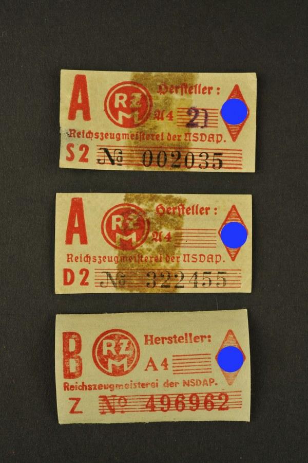 Ensemble d'étiquettes RZM de la Hitlerjugend