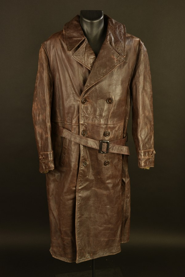 Rare manteau en cuir d'officier US fabrication war aid pour la Russie