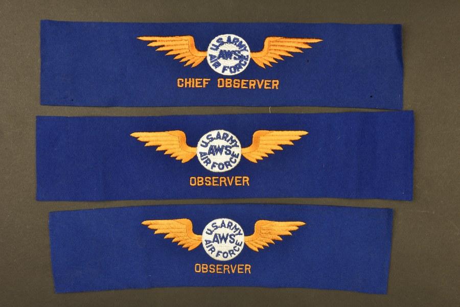 Ensemble de brassard de l'US Army Air Force AWS