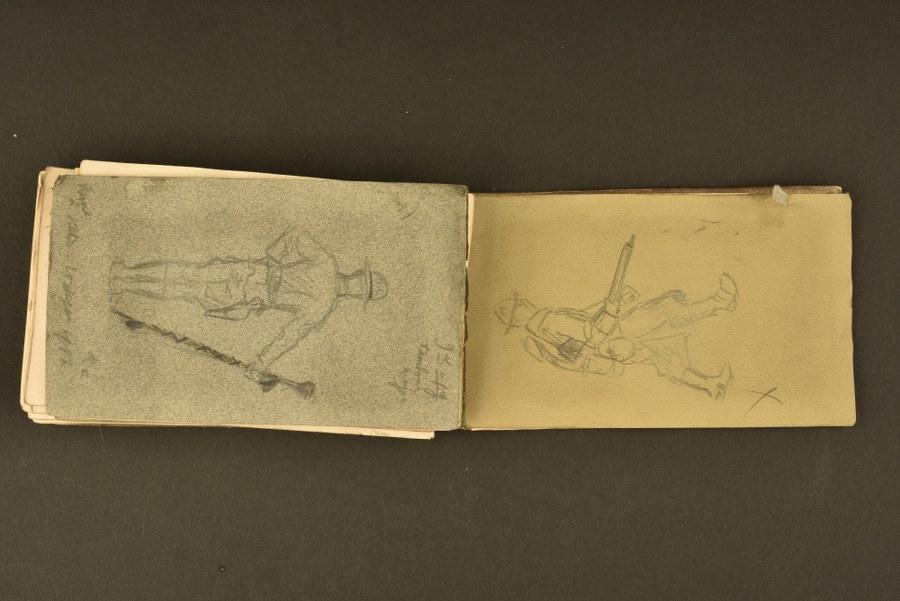 Livret de dessins d'un soldat américain sur le front français en 1917