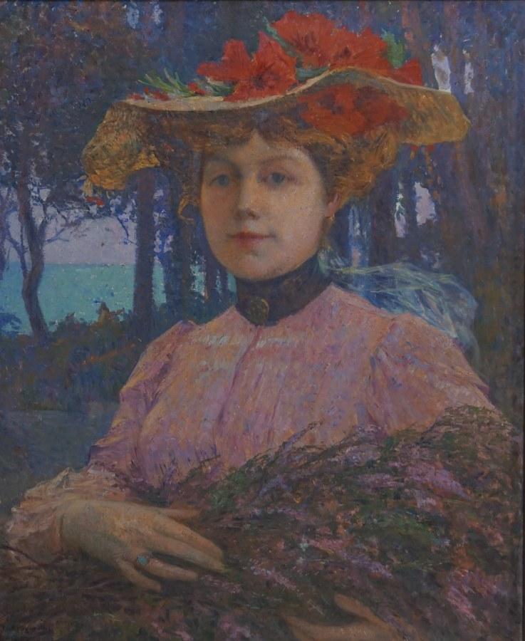 Portrait de femme au bouquet.