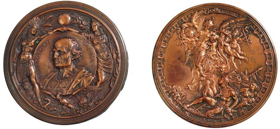 Médaille bivalve commémorative des 400 ans de l'arrivée de Christophe Colombe aux Amériques.
