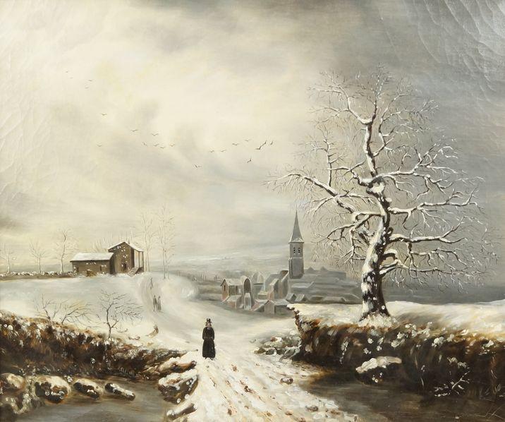 Village dans un paysage d'hiver.
