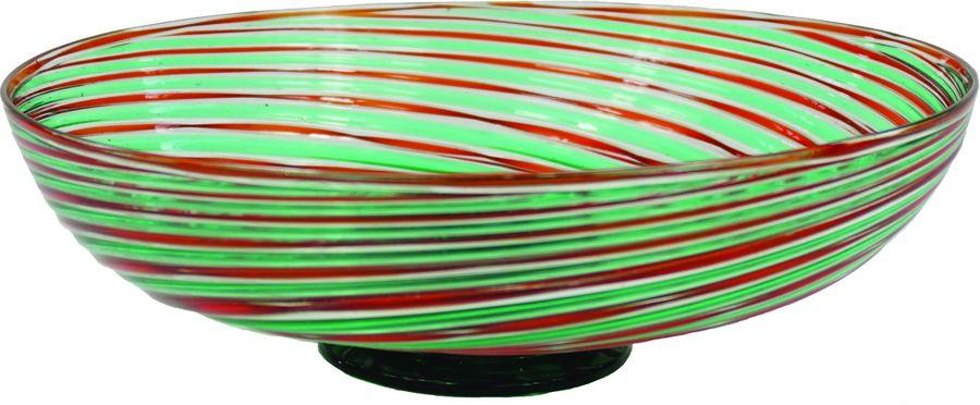 Coupe à décor de bandes vertes et filets rouges.