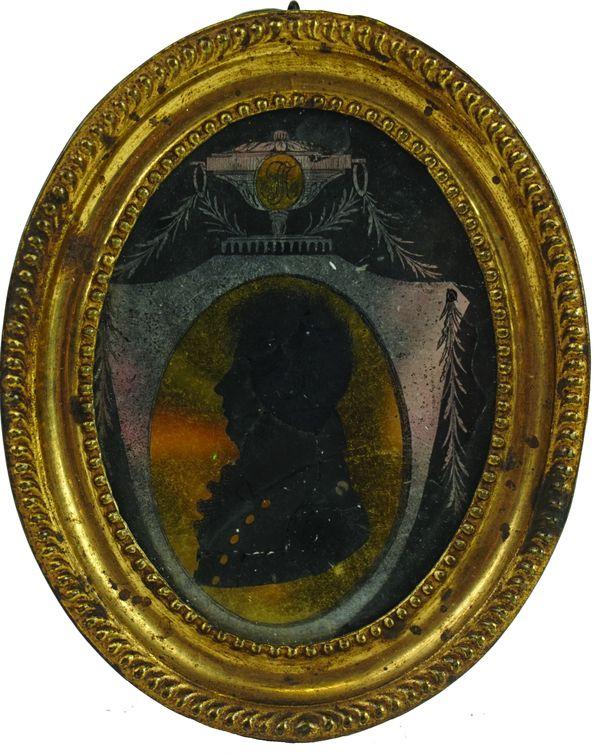 Miniature églomisée représentant une silhouette d'homme.