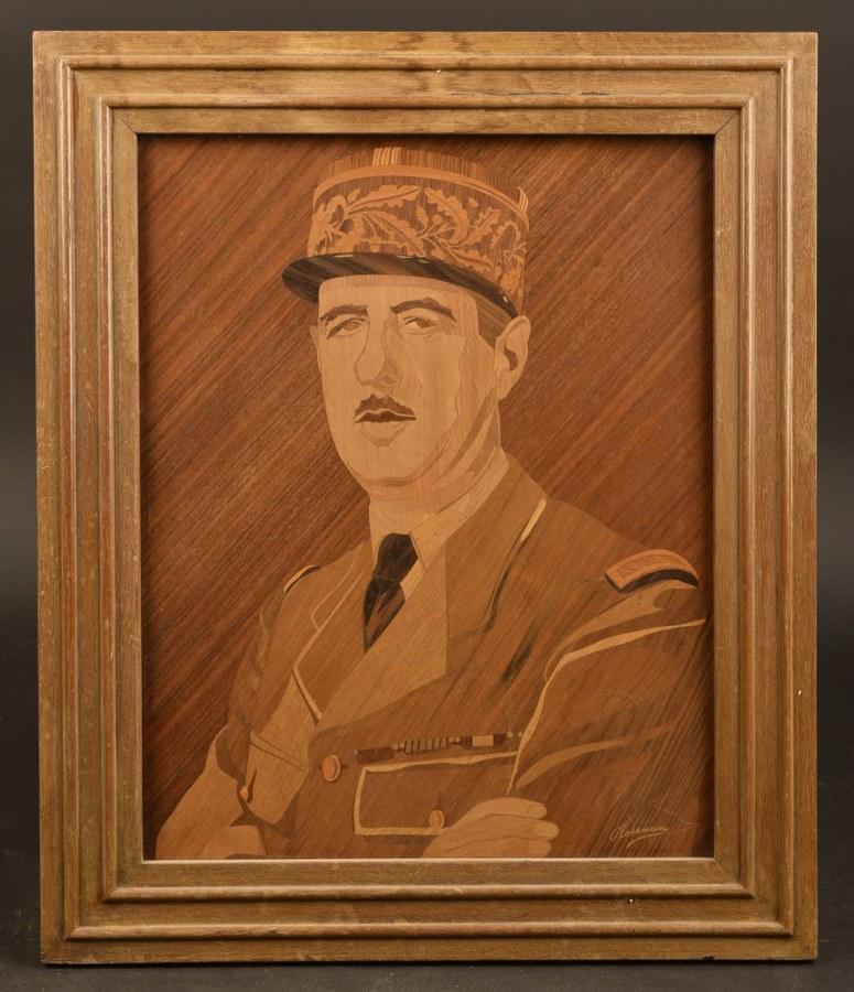 Marqueterie figurant le Général de Gaulle