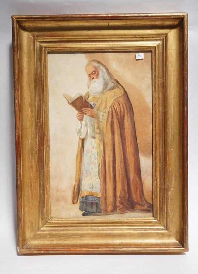 E. LEROY (XIXe -XXe). Saint lisant signé en bas à gauche. Encadrement doré. 68,5 x 49 cm.