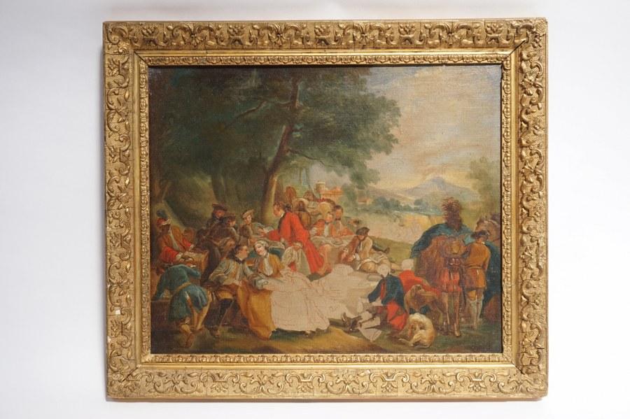 Carle VAN LOO (1705-1765), d'après. Étude d'après le Repas de chasse de Carl VAN LOO de 1737. Huile sur toile. Académie du XIXe. Encadrement doré. Toile : 37,5 x 45,5 cm. Cadre : 47 x 55 cm.