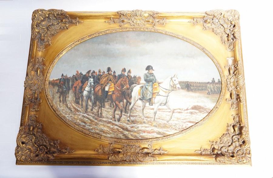 R. WILSON (XXe) d'après Jean-Louis-Ernest Meissonier (1815-1891). La Campagne de France. Huile sur toile contrecollée sur panneau encadrée, signée en bas au centre. Cadre : 81 x 114 cm.