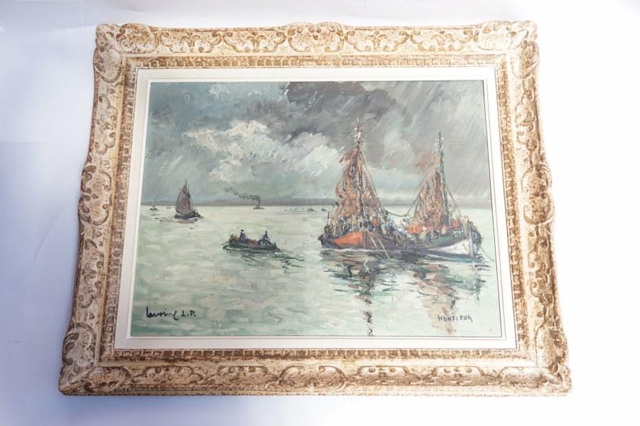 Robert L. P. LAVOINE (1916-1999). Marine : vue d'Honfleur. Huile siur toile signée en bas à gauche. Vue : 48 x 63 cm.