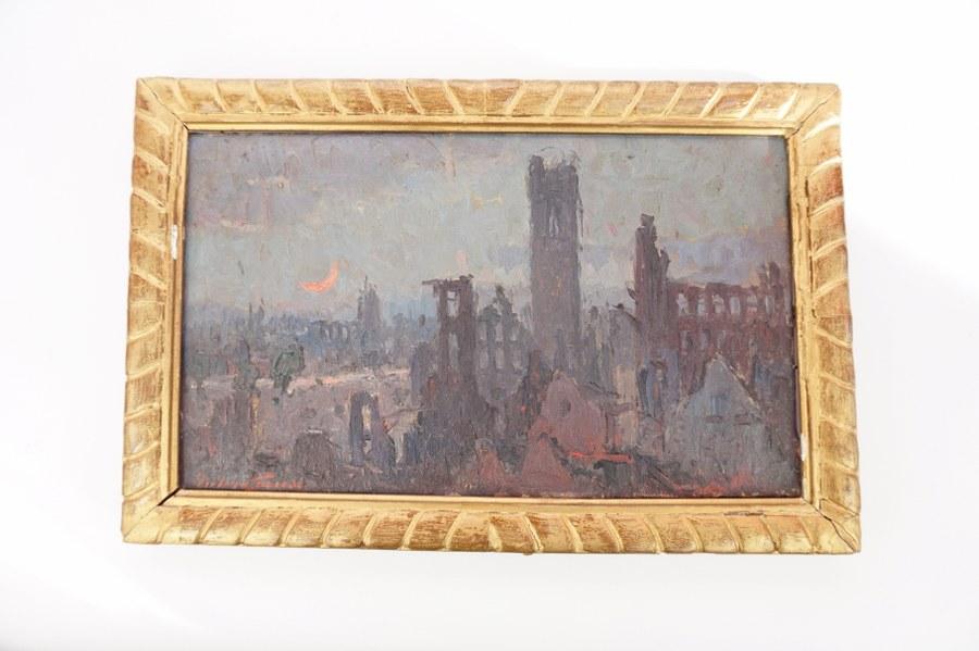 Pieter GORUS (1881-1941). Vue des ruines de Termonde (Dendermonde). Huile sur toile Début du XXe siècle. 24 x 40 cm.