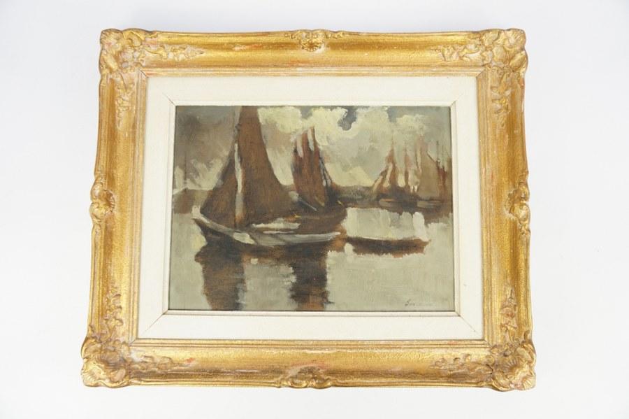 Frédéric DE SMET (1876-1948). La barque hollandaise. Huile sur panneau. Années 1940. 32,5 x 42 cm. Acquise par la famille directement auprès de l'artiste.