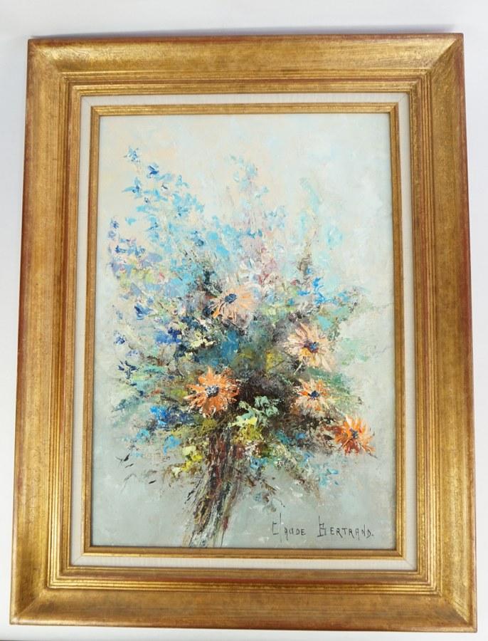 Claude BERTRAND (1940). Bouquet aux delphiniums. Huile sur toile signée en bas à droite, châssis estampé Claude Bertrand. Années 1980.