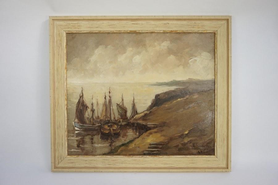 Achille SENGIER (1886-1964). Côte et voiliers. Huile sur toile signée en bas à droite datée 43. Années 1940. 50 x 61 cm.