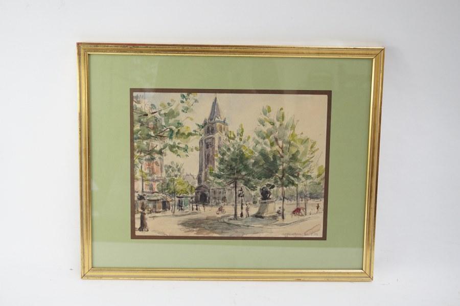 André MALTERRE (1889-1975). Vue de Saint-Germain des Prés. Aquarelle encadrée signée et datée 42.5.22 au crayon en bas à droite. Cadre : 38 x 48 cm.