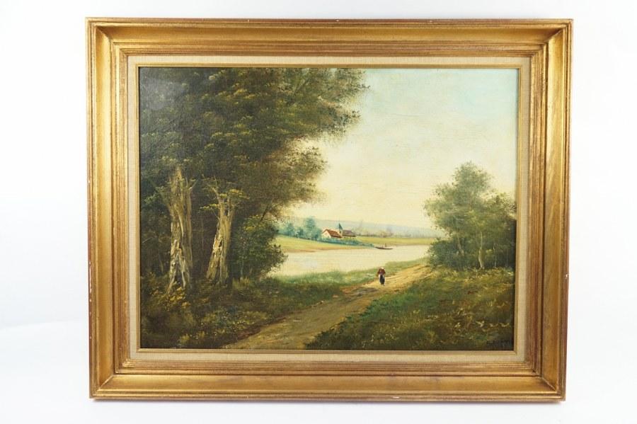 E. DUPUIS (1877-1956). Vue de chemin sur fond d' église. Huile sur toile signée en bas à droite et datée 1885. Toile : 49 x 65 cm. Quelques restaurations.