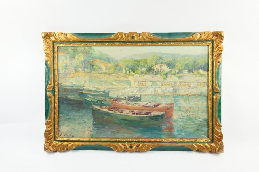 Georges DELOYE (1856-1930). Vue de port de plaisance. Huile sur toile signée en bas à gauche. 38 x 61 cm. Accidents a la toile.