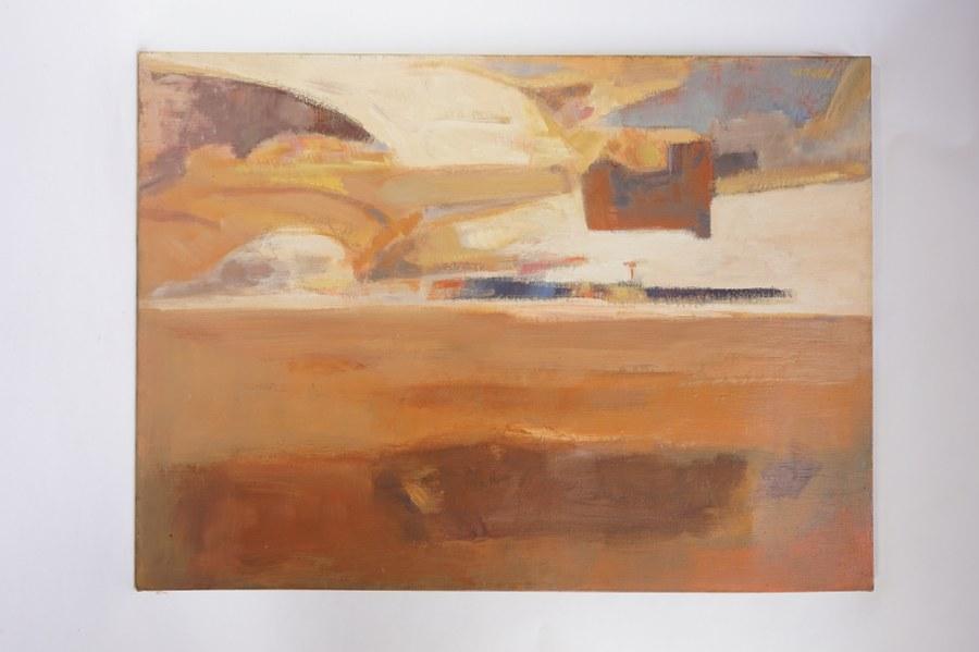 Georges PLOQUIN (1937). Composition en beige et ocre. Huile sur toile signée PLOQUIN en bas à gauche. Fin du XXe siècle. 73 x 100 cm.