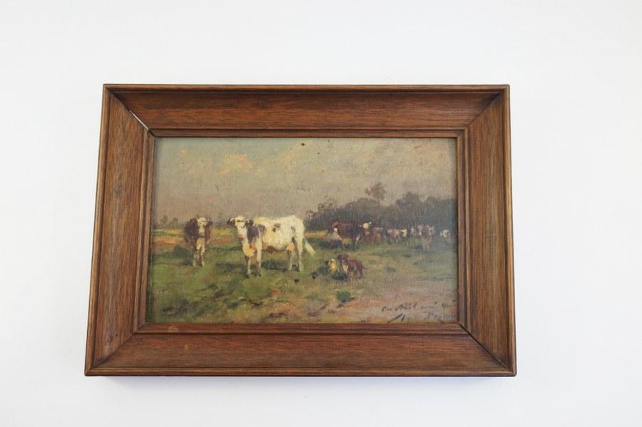 Aymar Alexandre PEZANT (1846-1916). Vaches aux pré avec un chien signée en bas à droite. Fin du XIXe siècle. Environ 15 x 23,5 cm.