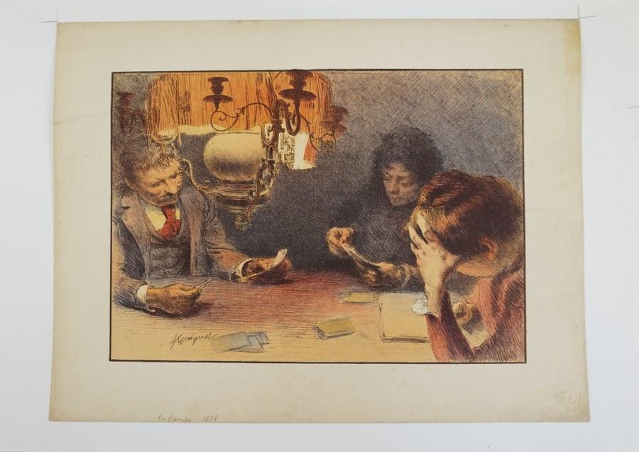 Jacques Adrien GUIGNET (1816-1854), attribué à. La lampe. Lithographie pour l'Estampe moderne signée dans la planche. Vers 1898. Environ 30,6 x 41 cm.