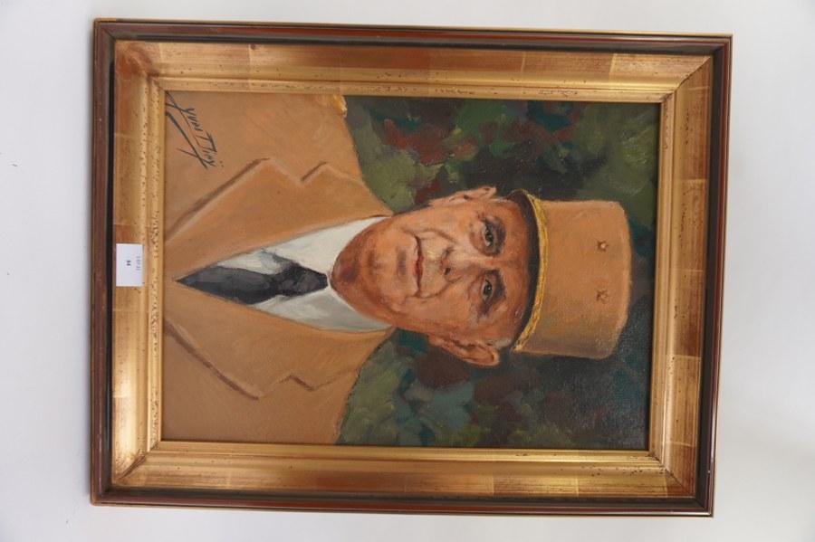 Huile sur toile représentant le général De Gaulle signé