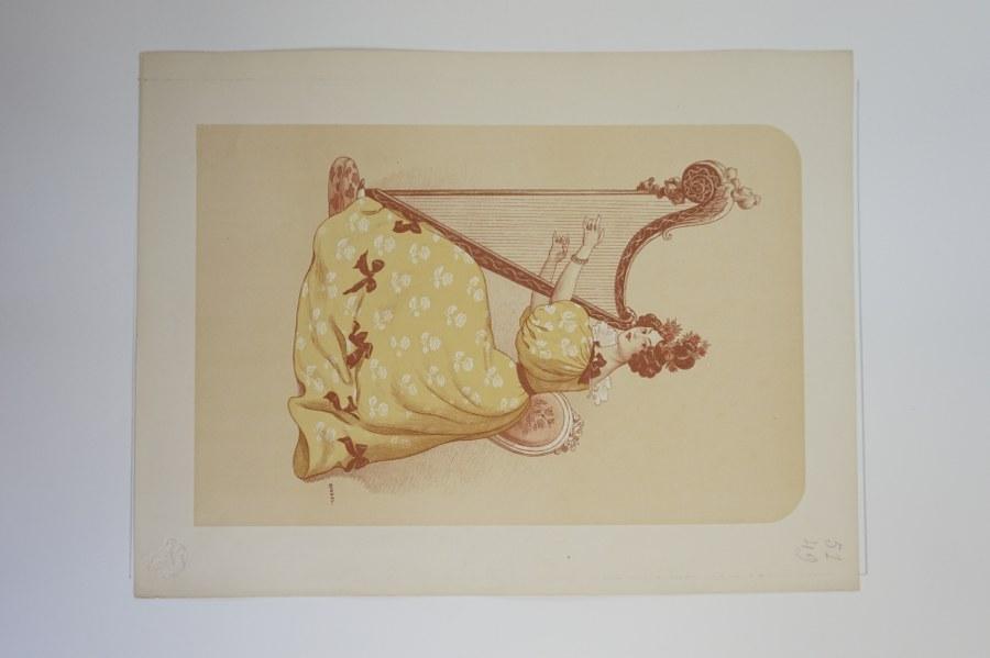 Auguste ROEDEL (1859-1900). La Romance. Lithographie originale, avec cachet à sec de l'Estampe Moderne. Avec marges : environ 41,5 x 30,5 cm.