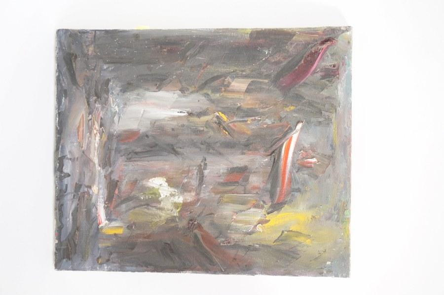 Elemer VAGH-WEINMANN (1906-1990) Montmartre. Abstraction. Huile sur toile. Signée en bas à droite. Titrée au dos. 46 x 38 cm. Tableaux XXe