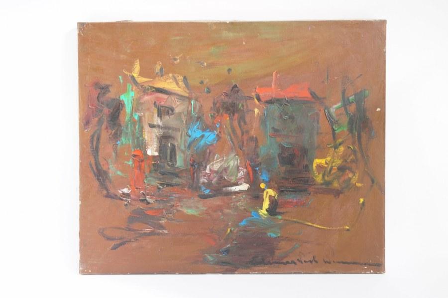 Elemer VAGH-WEINMANN (1906-1990) Abstraction. Huile sur toile signée en bas à droite. 60 x 73 cm. Tableaux XXe