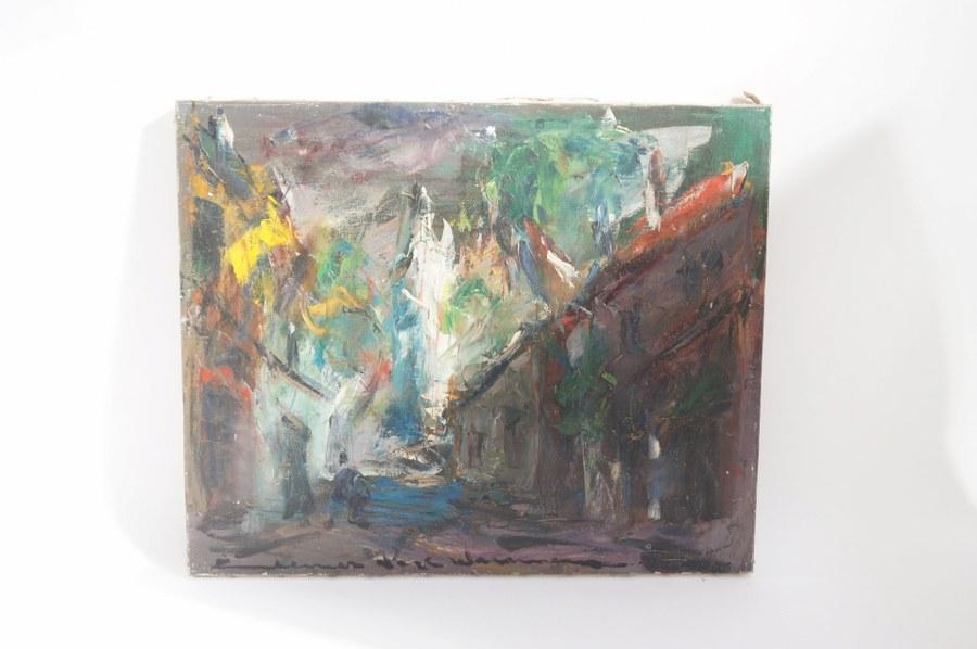 Elemer VAGH-WEINMANN (1906-1990) Montmartre village. Abstraction. Huile sur toile signée en bas à gauche et titrée au dos. 50 x 61.5 cm. Tableaux XXe