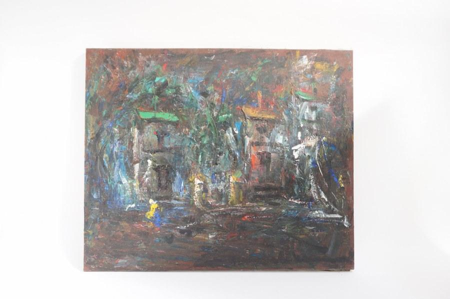 Elemer VAGH-WEINMANN (1906-1990) Le village. Abstraction. Huile sur toile signée en bas à droite. 60 x 73 cm. Tableaux XXe