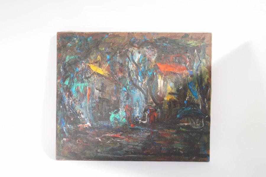 Elemer VAGH-WEINMANN (1906-1990) Crépuscule. Abstraction. Huile sur toile signée en bas à droite. Titrée au dos. 54 x 65 cm. Tableaux XXe