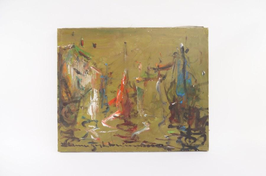 Elemer VAGH-WEINMANN (1906-1990) Abstraction. Huile sur toile signée en bas à gauche et titrée au dos. 50 x 61.5 cm. Tableaux XXe