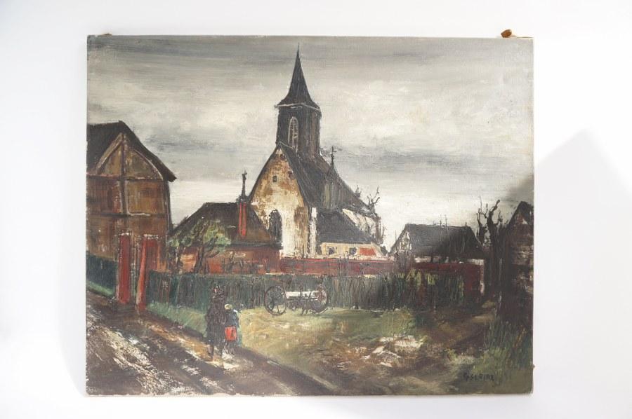 Gaston SEBIRE (1920-2001). Promenade du Dimanche. Vue de village avec chemin habité et église. Huile sur toile signée en bas à droite. Seconde moitié du XXe siècle. 65 x 81 cm.
