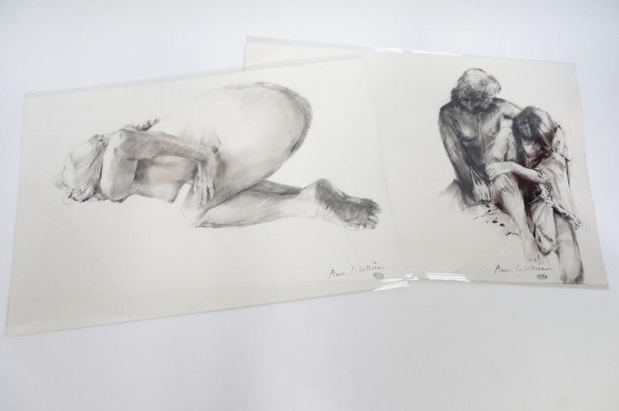 Pierre LETELLIER (1928-2000). 2 fusain et lavis de nue en noir et blanc.