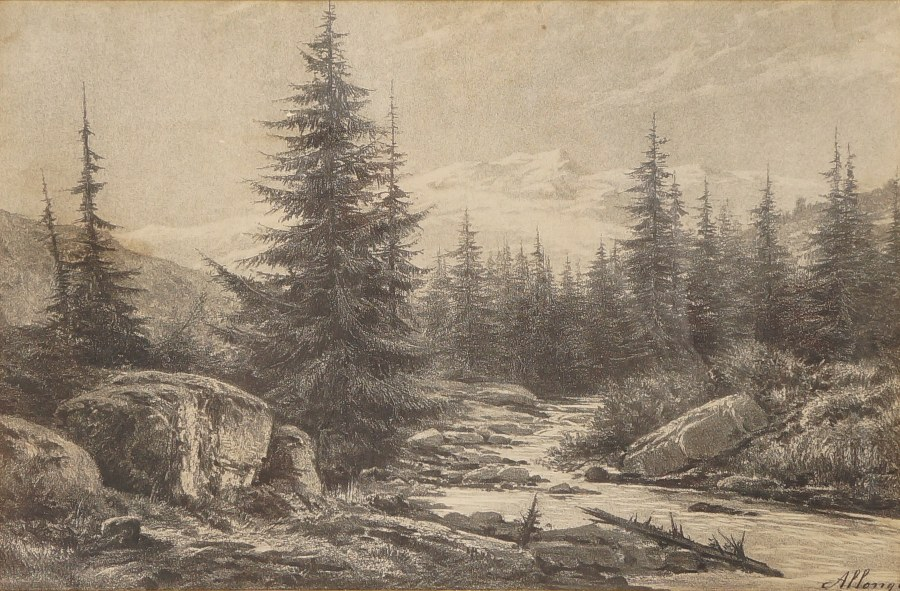 d'après Auguste ALLONGÉ (1833-1898). Paysage de montagne. Gravure signée dans la planche. XIXe.
