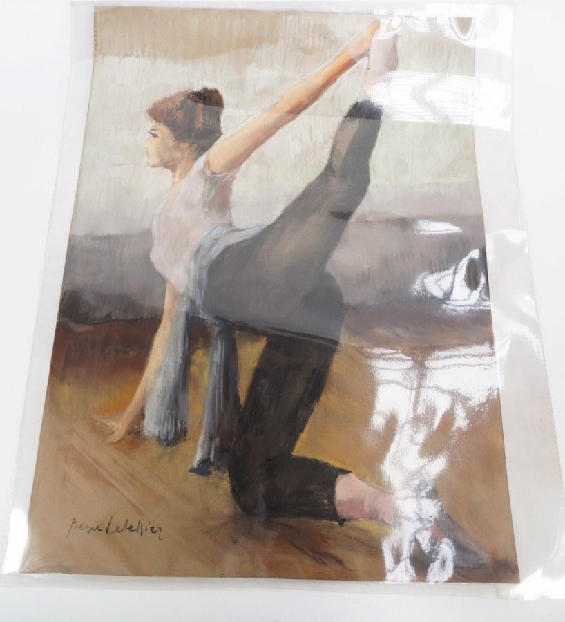 Pierre LETELLIER (1928-2000). Danseuse classique à l'entraînement. Pastel signé. XXe siècle.