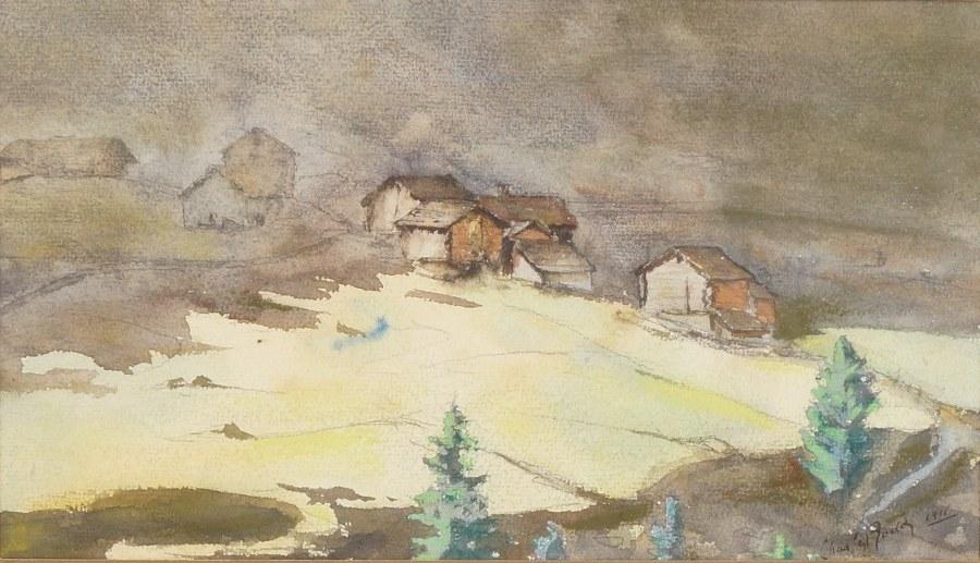 Charles RODEZ (?). Vue de maisons de colline. Aquarelle datée 1911.