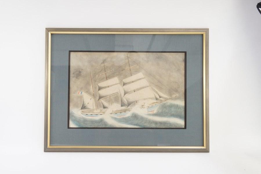 Pastel représentant le navire CLÉMENCEAU. Cadre : 52 x 70 cm.