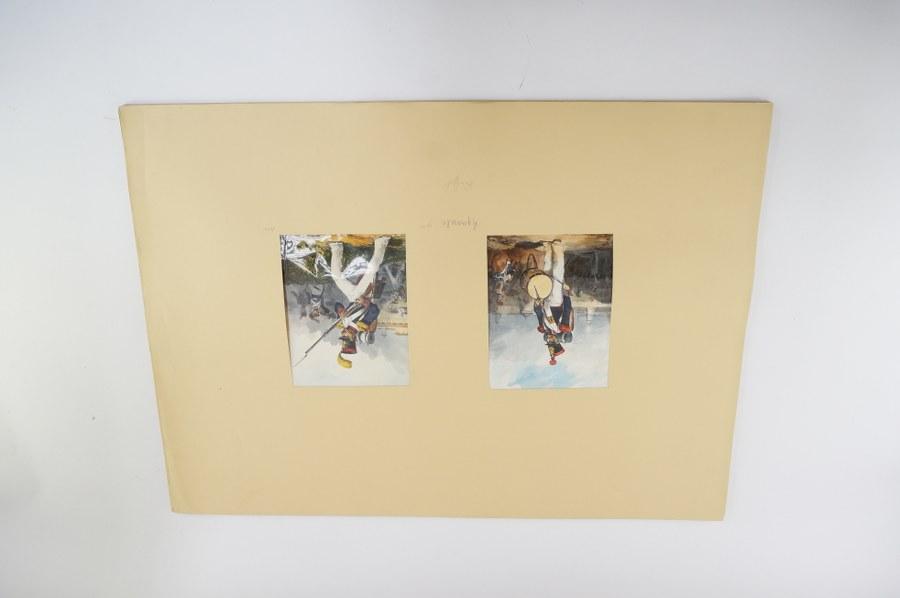 D'après Auguste Denis RAFFET (1804-1860). Bel ensemble de 16 lithographies aquarellées gouachées signées dans la planche. XIXe siècle. Feuilles : Environ 18 x 14 cm. Montage : 50 x 70 cm.