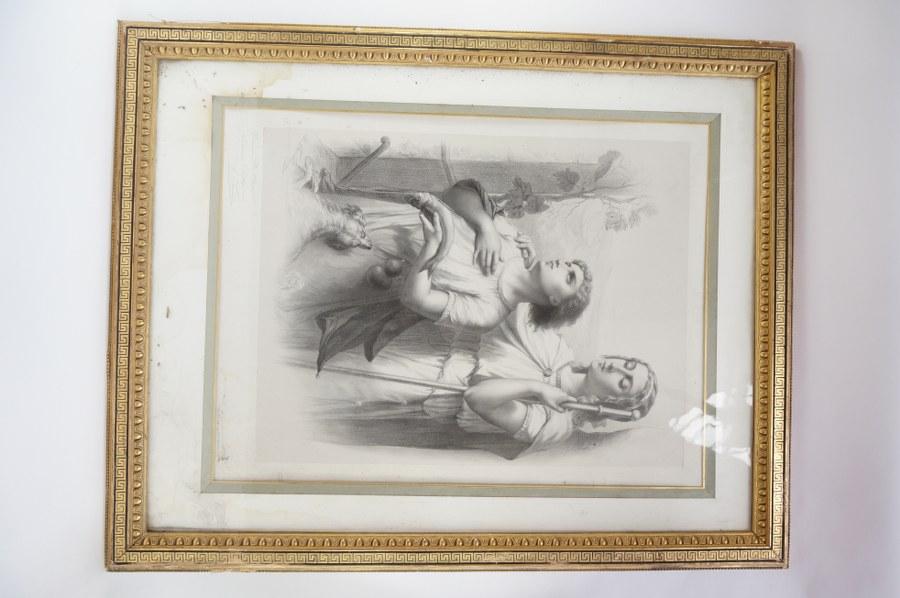 Paire de lithographies à sujets religieux bien encadrées signées C. FUHN et dédicacée. Vers 1870-1880. Accidents et petites déchirures. 99 x 78 cm.