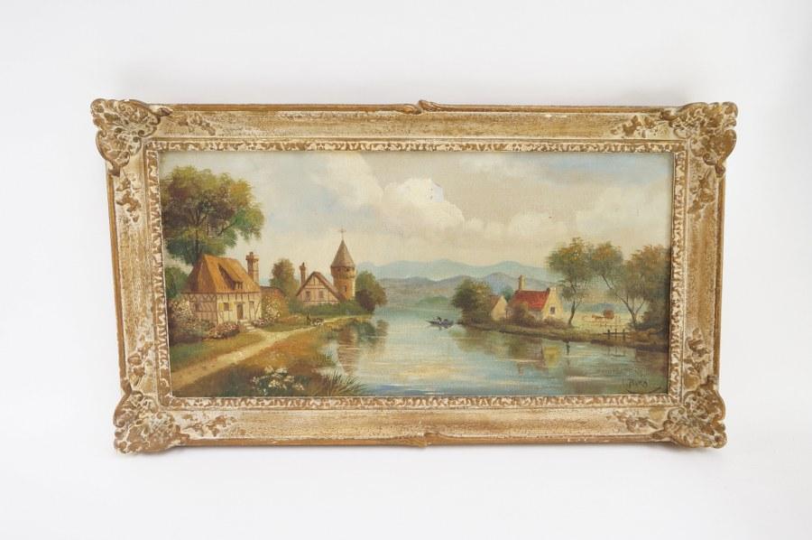 BARA (XXe). Vue de village fluvial. Milieu du XXe siècle. Cadre : 68,5 x 39 cm. Accident.