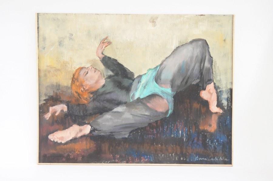 Pierre LETELLIER (1928-2000). Huile sur isorel de pierre Letellier ''Danseuse'' 50x65cm.