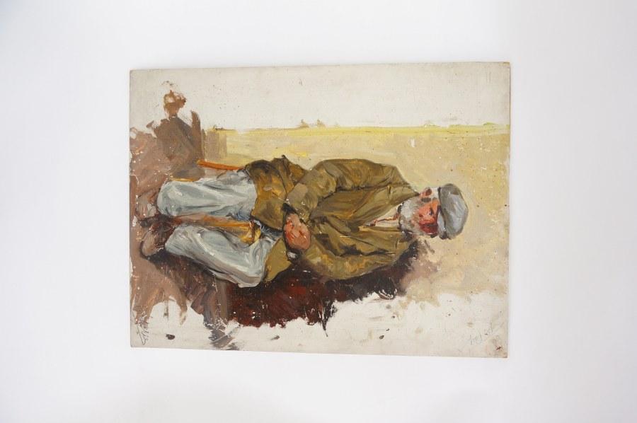 Pierre LETELLIER (1928-2000). Huile sur isorel de Pierre Letellier ''Vieillard''. 50 x 60 cm.